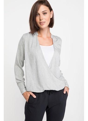 DeFacto Kruvaze Yaka Uzun Kollu Bluz Gri